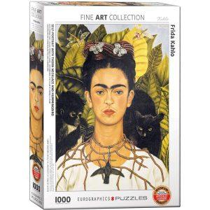 Puzzle Autoretrato con collar de espinas y colibrí de Frida Kahlo