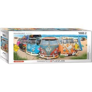 Puzzle Panorámico de Furgonetas Volkswagen en la playa
