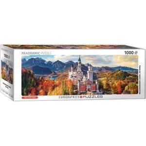 Puzzle Panorámico Castillo de Neuschwanstein en otoño