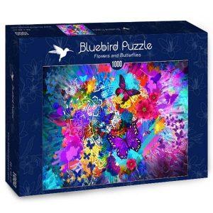 Puzzle Bluebird Flores y mariposas de colores de 1000 piezas