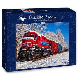 Puzzle Tren rojo en la nieve - Puzzles Bluebird Puzzle