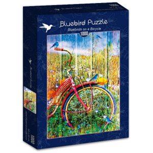 Puzzle Bluebird Pájaros azules en una bicicleta de 1000 piezas