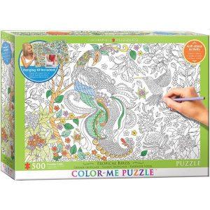 Puzzle Colorear XXL - tropical de las aves - Puzzles Eurographics
