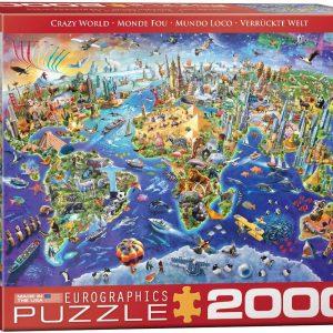 8220-5343 Puzzle Eurographics Mapa del mundo Crazy world de 2000 piezas