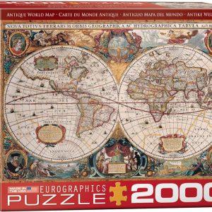 8220-1997 Puzzle Eurographics Mapa Antiguo del Mundo de 2000 piezas