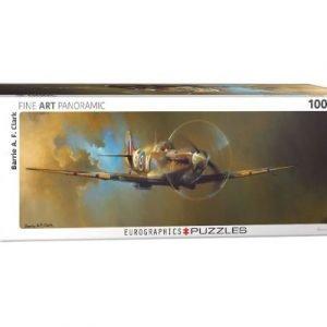 Puzzle Eurographics panorámico Avión Spitfire 1000 piezas