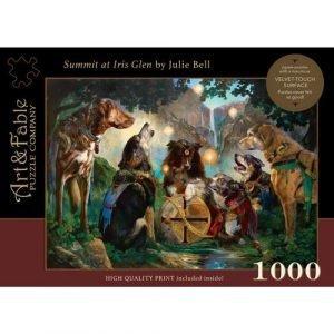 Puzzle Art & Fable Perros Summit at Iris Glen Julie Bell de 1000 piezas