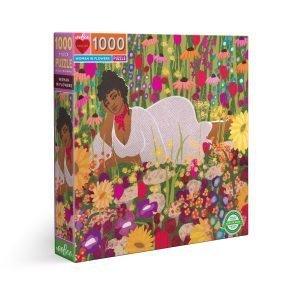 Puzzle eeBoo Woman in Flowers de 1000 piezas