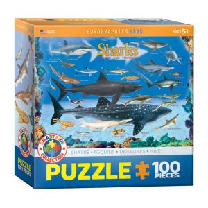 Puzzle niños Eurographics Tiburones de 100 piezas
